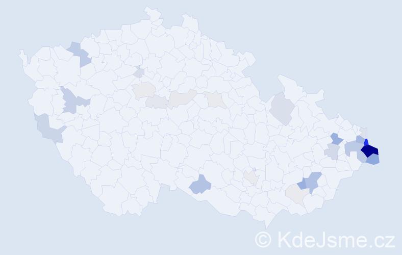 Příjmení: 'Kowalczyk', počet výskytů 110 v celé ČR