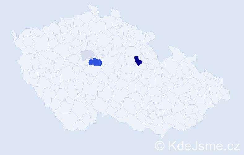 Příjmení: 'Ižáková', počet výskytů 5 v celé ČR