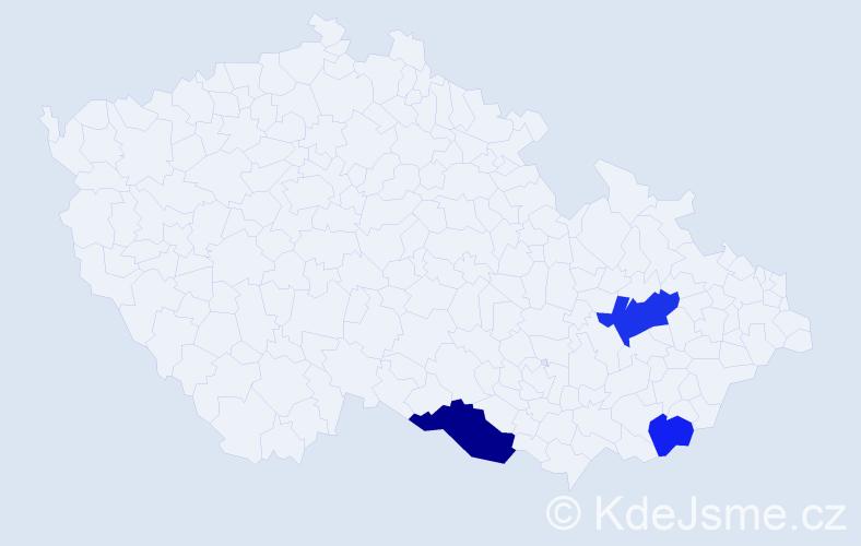Příjmení: 'Heimel', počet výskytů 5 v celé ČR