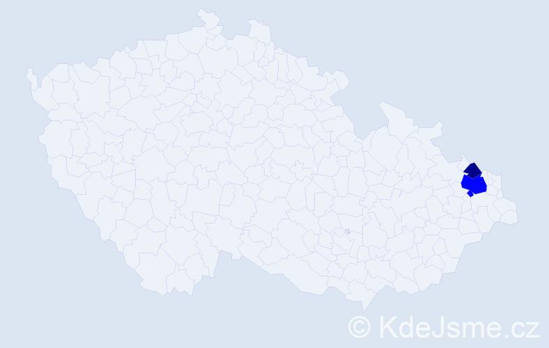 Příjmení: 'Hojdan', počet výskytů 5 v celé ČR
