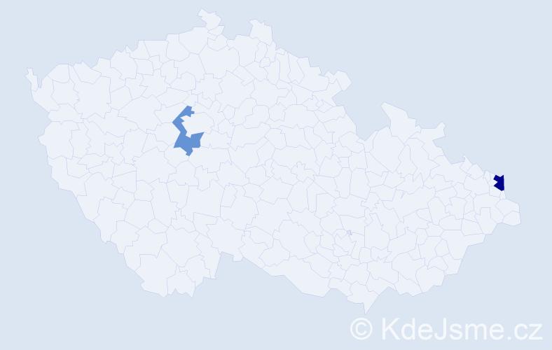 Příjmení: 'Bahorcová', počet výskytů 3 v celé ČR