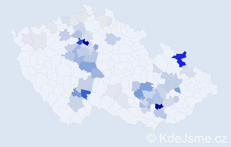 Příjmení: 'Cikánek', počet výskytů 192 v celé ČR
