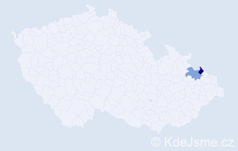 Příjmení: 'Kubettová', počet výskytů 4 v celé ČR