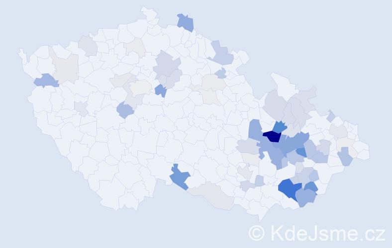 Příjmení: 'Huňka', počet výskytů 283 v celé ČR