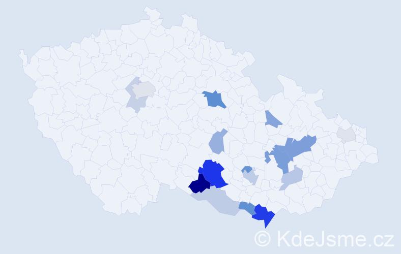 Příjmení: 'Kouřílková', počet výskytů 40 v celé ČR