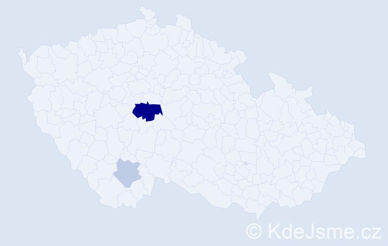 Příjmení: 'Kocmata', počet výskytů 6 v celé ČR
