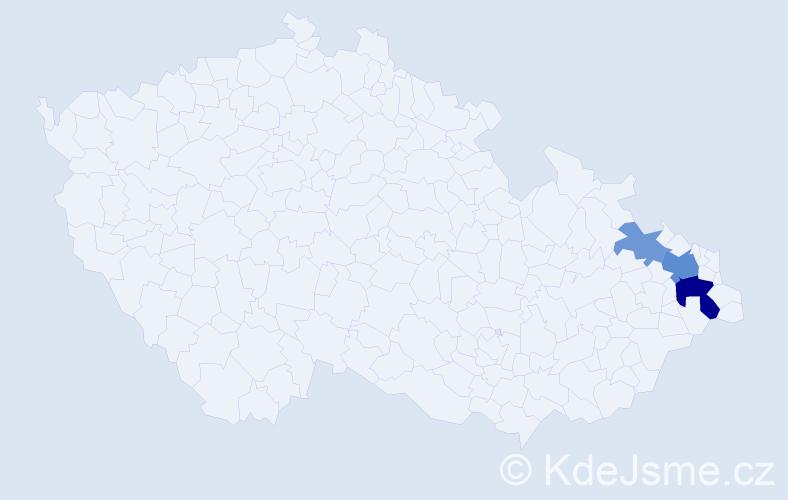 Příjmení: 'Hűner', počet výskytů 7 v celé ČR