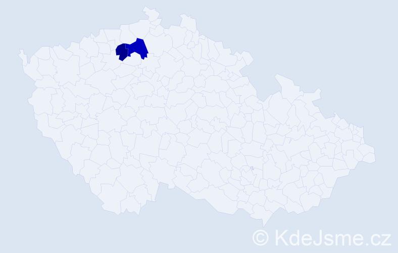 Příjmení: 'Četveryk', počet výskytů 3 v celé ČR