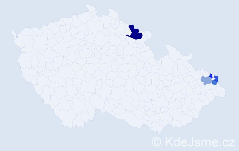 Příjmení: 'Čerchla', počet výskytů 10 v celé ČR