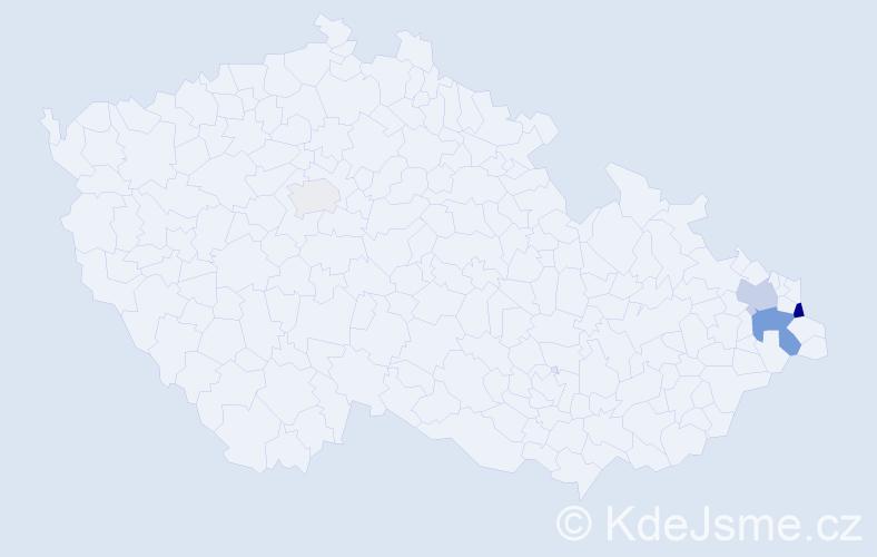 Příjmení: 'Čečotová', počet výskytů 9 v celé ČR