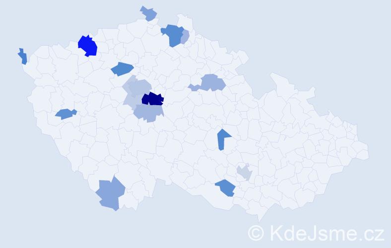 Příjmení: 'Knihová', počet výskytů 41 v celé ČR