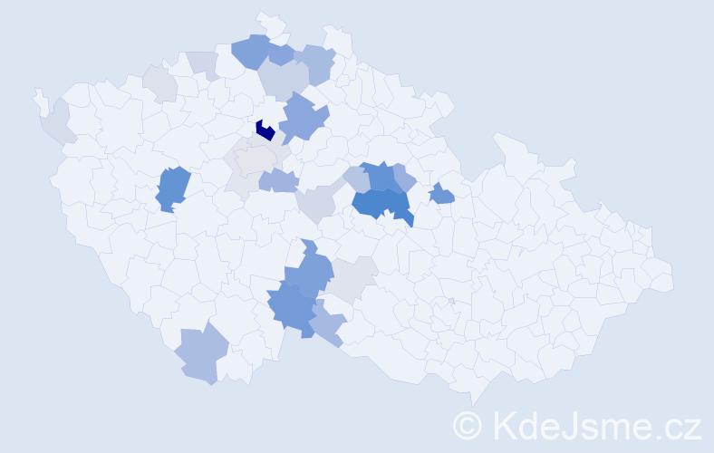 Příjmení: 'Jinochová', počet výskytů 95 v celé ČR