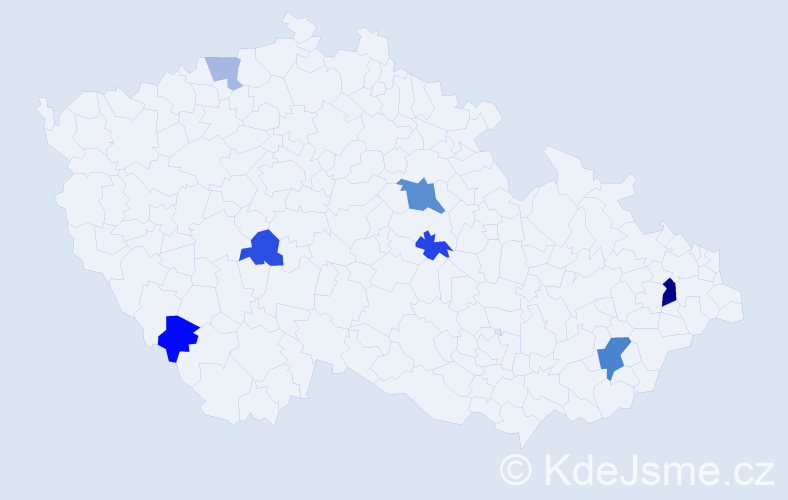 Příjmení: 'Hvozdíková', počet výskytů 13 v celé ČR
