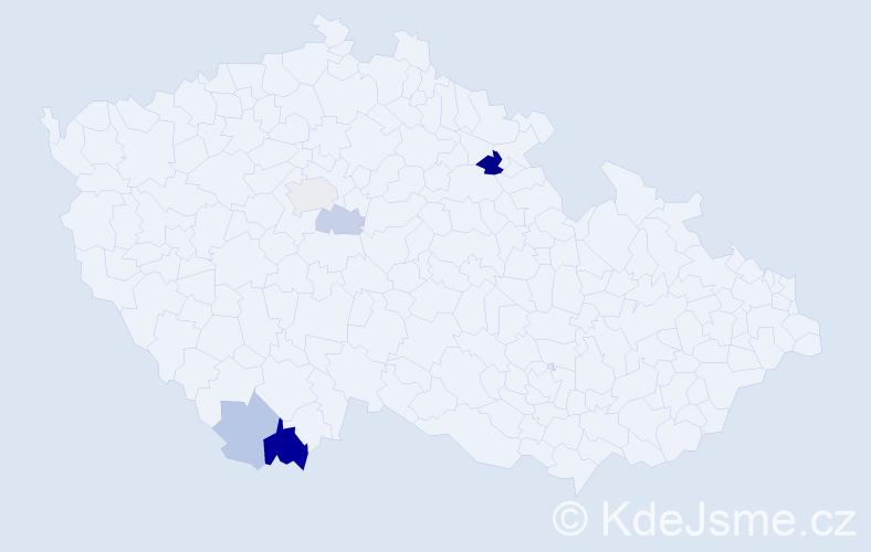 Příjmení: 'Grbač', počet výskytů 12 v celé ČR