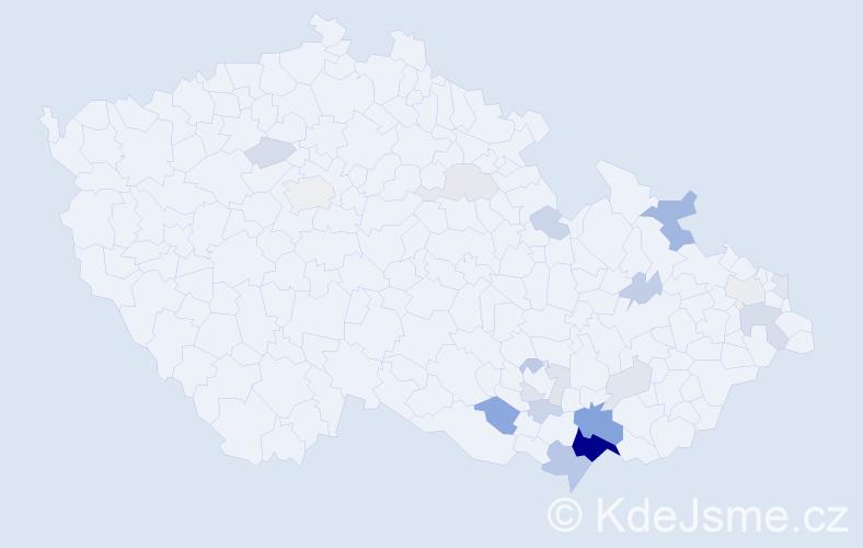 Příjmení: 'Bohunská', počet výskytů 55 v celé ČR