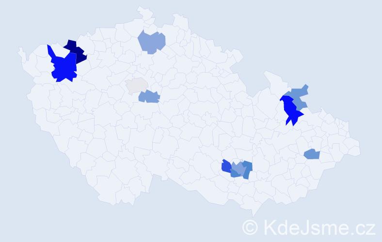 Příjmení: 'Kačeriaková', počet výskytů 21 v celé ČR