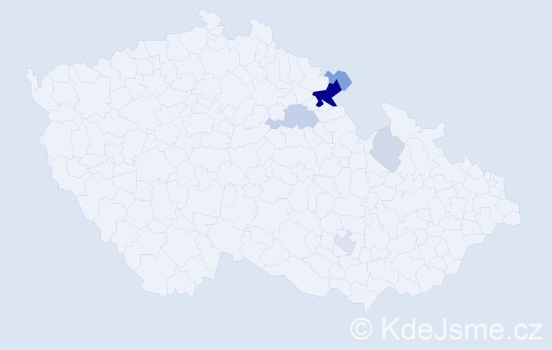 Příjmení: 'Haucková', počet výskytů 19 v celé ČR