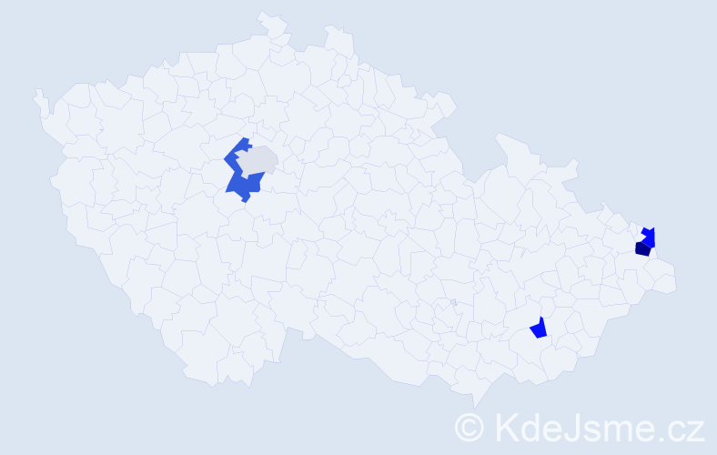 Příjmení: 'Bartulíková', počet výskytů 9 v celé ČR