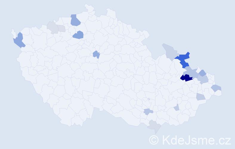 Příjmení: 'Gašparik', počet výskytů 42 v celé ČR