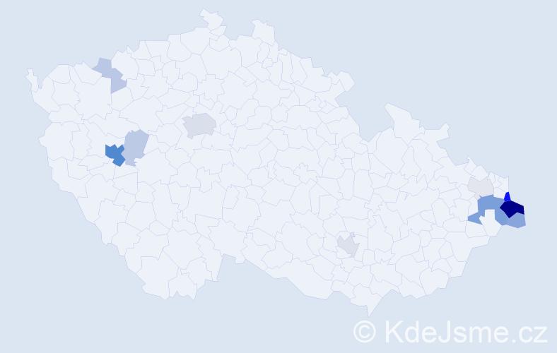Příjmení: 'Hus', počet výskytů 45 v celé ČR