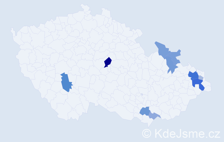 Příjmení: 'Čmaradová', počet výskytů 24 v celé ČR