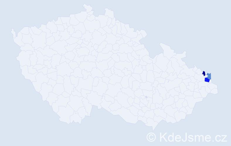 Příjmení: 'Dřenzla', počet výskytů 4 v celé ČR