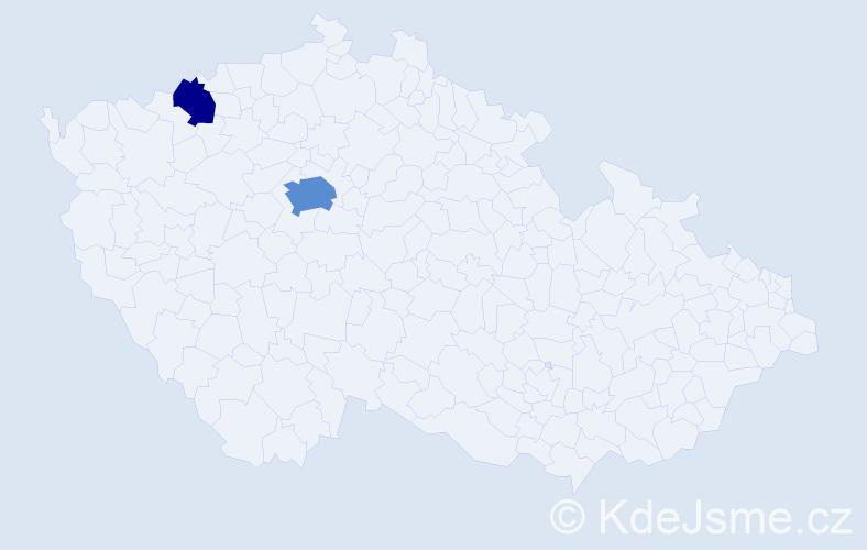 Příjmení: 'Hammadová', počet výskytů 5 v celé ČR