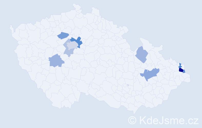 Příjmení: 'Čerešňa', počet výskytů 23 v celé ČR