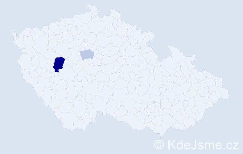 Příjmení: 'Laho', počet výskytů 5 v celé ČR