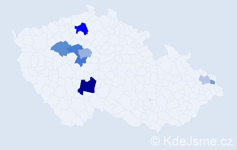 Příjmení: 'Klecandová', počet výskytů 17 v celé ČR