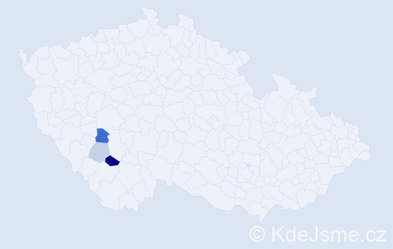 Příjmení: 'Hajdekr', počet výskytů 6 v celé ČR