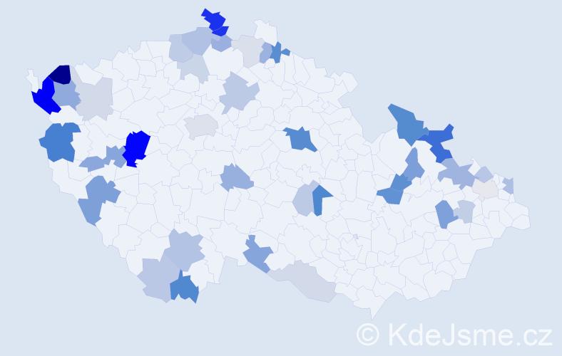 Příjmení: 'Ivanič', počet výskytů 110 v celé ČR