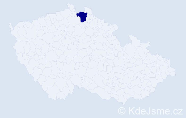 """Příjmení: '""""Aguilar Delgado""""', počet výskytů 1 v celé ČR"""