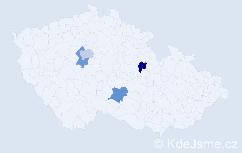 """Příjmení: '""""Al-Zein""""', počet výskytů 5 v celé ČR"""