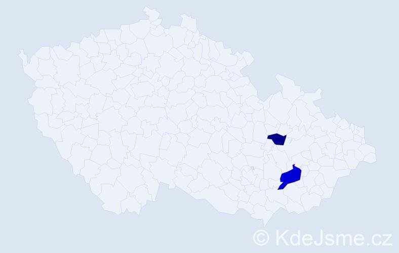 Příjmení: 'Hánošová', počet výskytů 7 v celé ČR