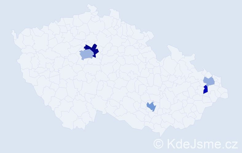Příjmení: 'Beretová', počet výskytů 9 v celé ČR