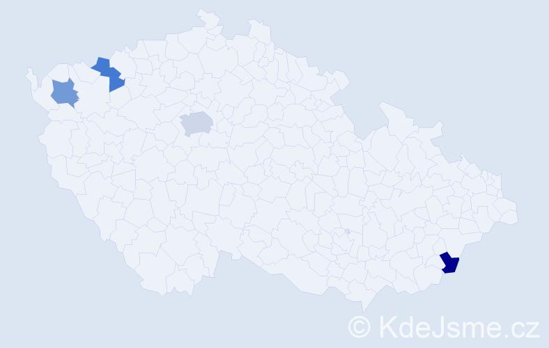 Příjmení: 'Greguška', počet výskytů 5 v celé ČR