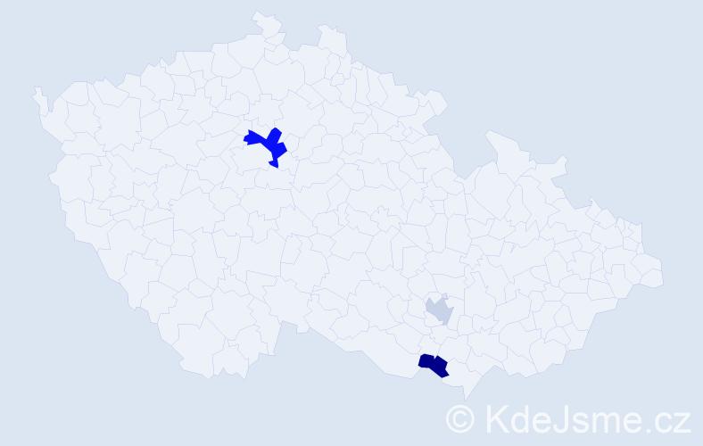 Příjmení: 'Kaprel', počet výskytů 5 v celé ČR