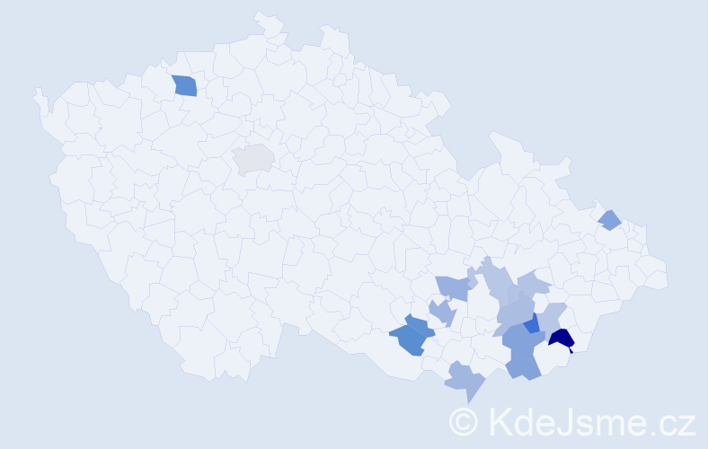 Příjmení: 'Bravená', počet výskytů 25 v celé ČR