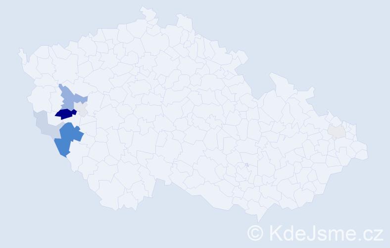 Příjmení: 'Hőfler', počet výskytů 21 v celé ČR