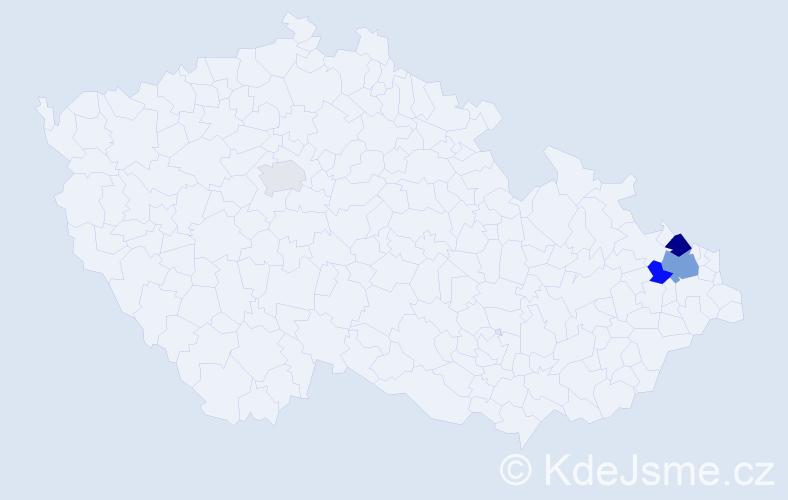 Příjmení: 'Hűbscher', počet výskytů 7 v celé ČR