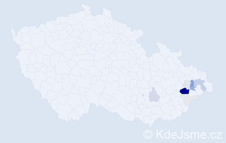 Příjmení: 'Grygaříková', počet výskytů 43 v celé ČR