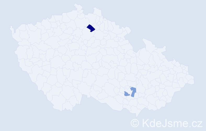 Příjmení: 'Cangár', počet výskytů 2 v celé ČR
