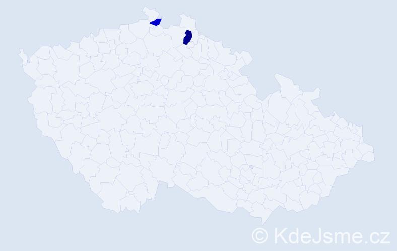 Příjmení: 'Bradel', počet výskytů 4 v celé ČR