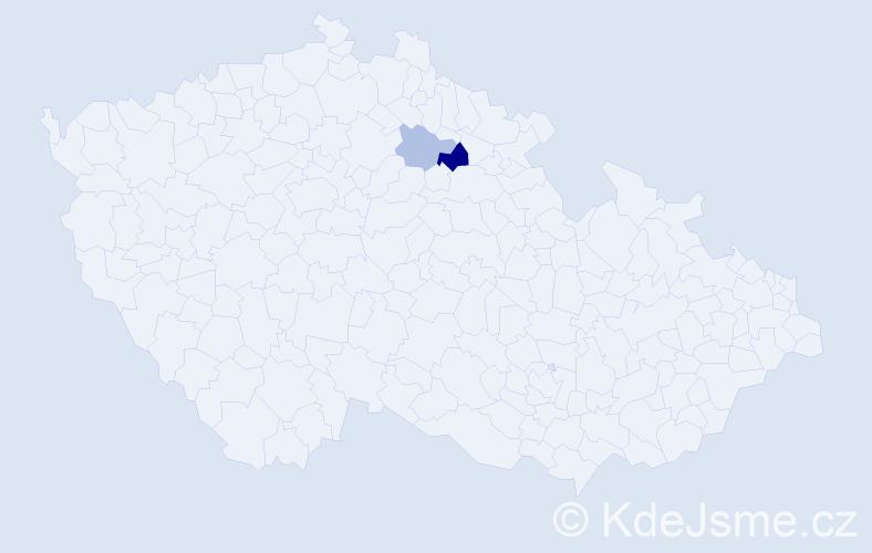 Příjmení: 'Gocev', počet výskytů 4 v celé ČR