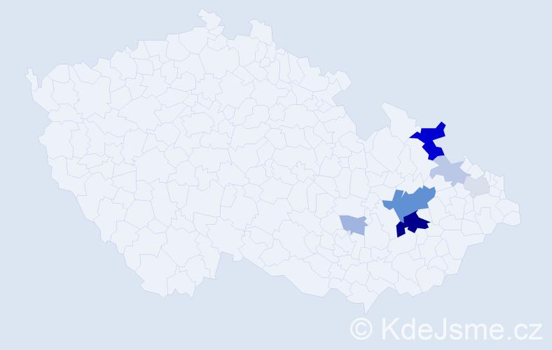 Příjmení: 'Hutečková', počet výskytů 20 v celé ČR
