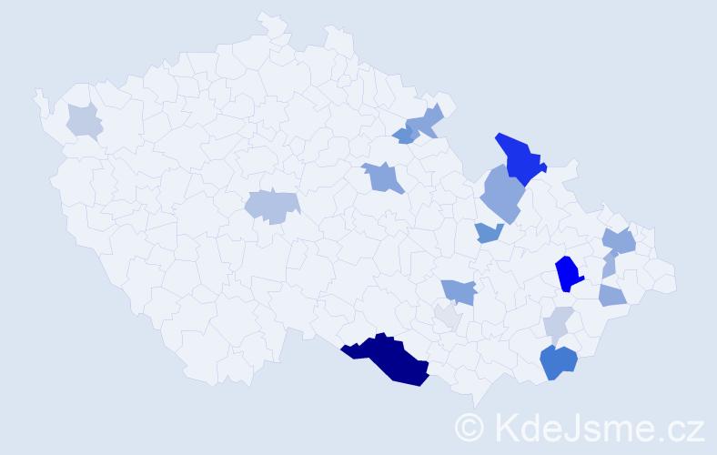 Příjmení: 'Kňazovčík', počet výskytů 46 v celé ČR