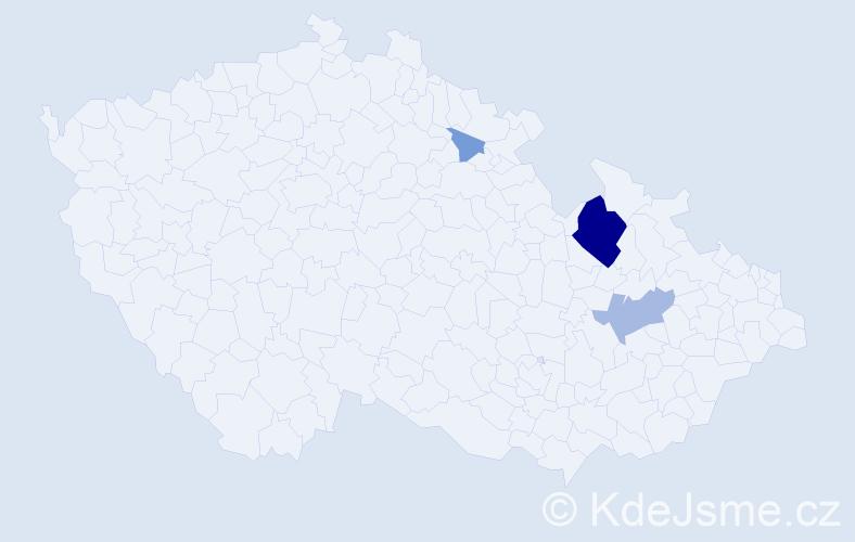 Příjmení: 'Lah', počet výskytů 11 v celé ČR