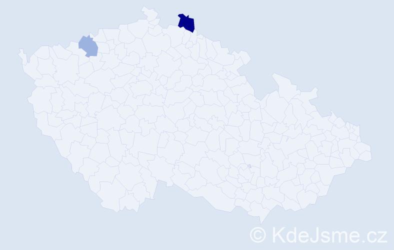 Příjmení: 'Bairichová', počet výskytů 3 v celé ČR