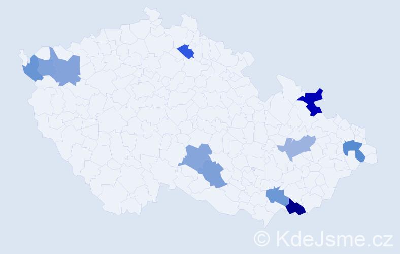 Příjmení: 'Gúthová', počet výskytů 14 v celé ČR